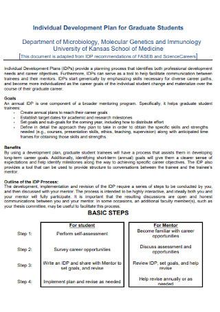 Individual Development Plan for Graduate Students