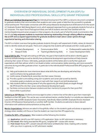 Individual Development Plan for Grant Program