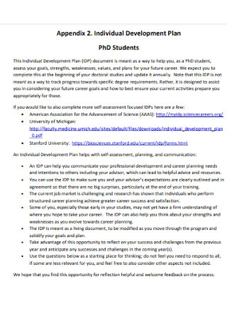 Individual Development Plan for Phd Students