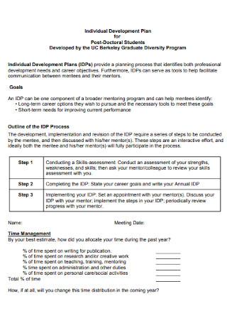 Individual Development Plan for PostDoctoral Students