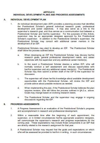 Individual Development Plan for Progress Assessment