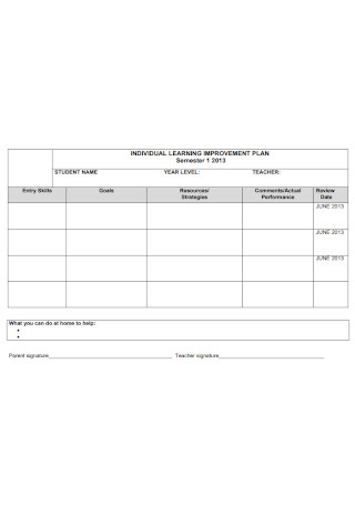 Individual Learning Improvement Plan
