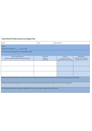 Individual Professional Learning Plan
