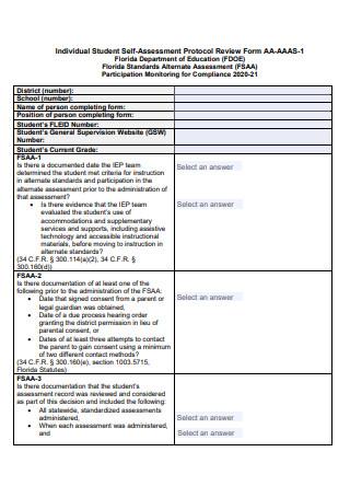 Individual Student Self Assessment