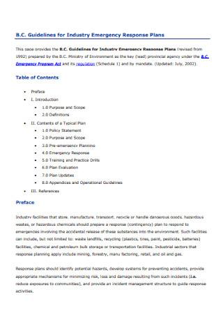 Industry Emergency Response Plans