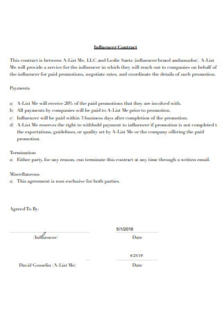Influencer Contract Example