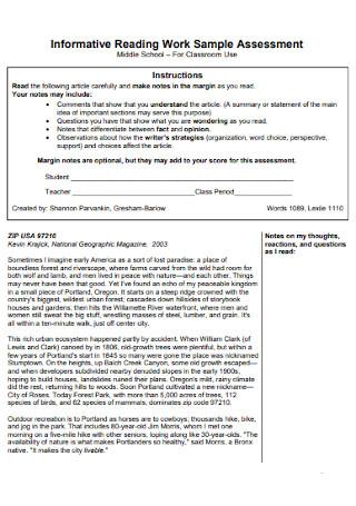 Informative Reading Work Assessment