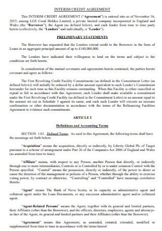 Interim Credit Agreement