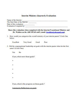 Interim Ministry Quarterly Evaluation
