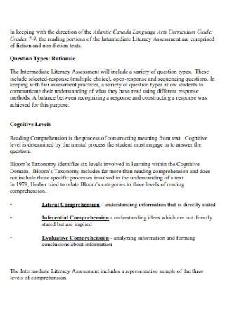 Intermediate Literacy Assessment