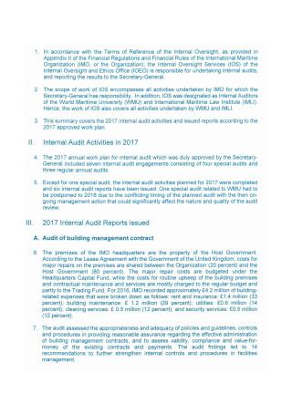 Internal Audit Activities Report