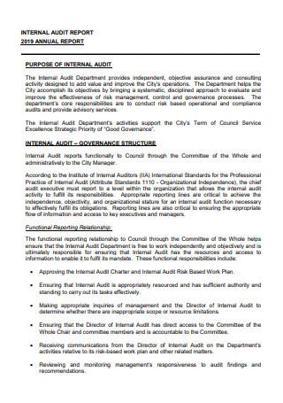 Internal Audit Annual Report