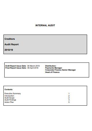 Internal Audit Creditor Report