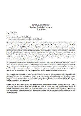 Internal Audit Report Letter