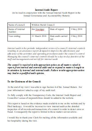 Internal Audit Report in DOC