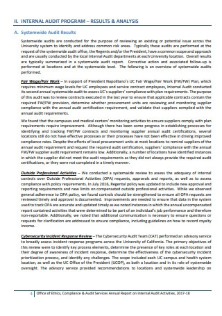 Internal Audit Services Report