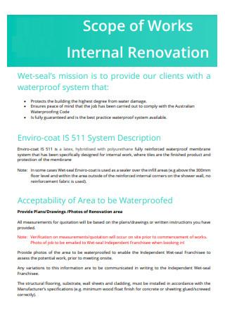 Internal Renovation Scope of Work