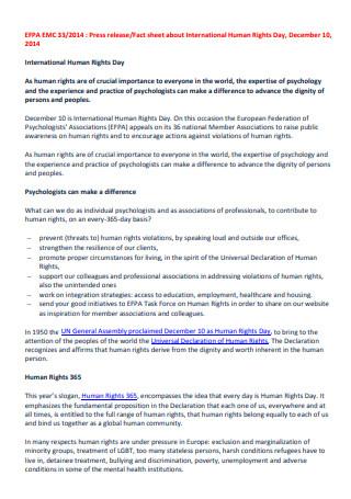 International Human Rights Day Press Release Fact Sheet