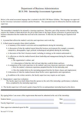 Internship Assessment Agreement