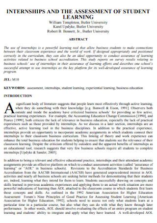 Internship Assessment of Student Learning