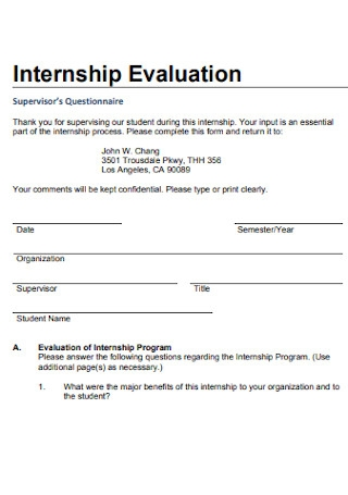 Internship Evaluation Format