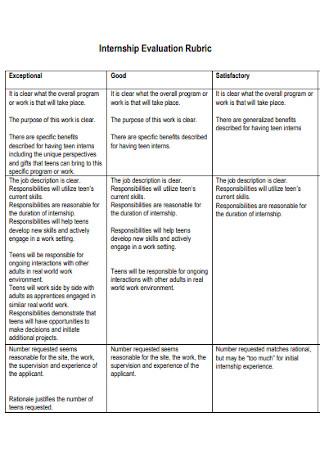 Internship Evaluation Rubric Template
