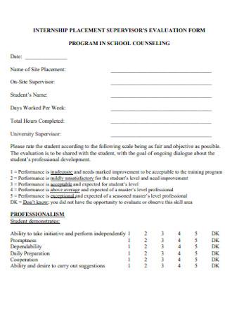 Internship Placement Evaluation