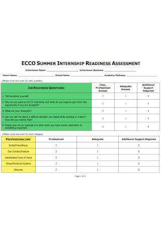 Internship Readness Assessment
