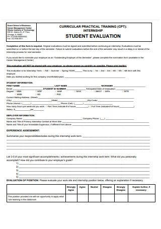 Internship Student Evaluation