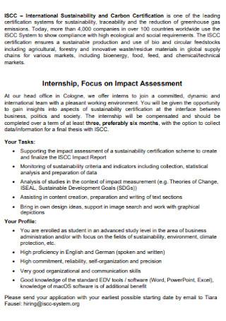 Internship on Impact Assessment