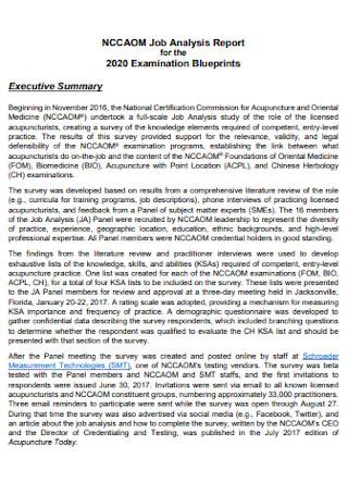 Job Analysis Report for Examination Blueprints
