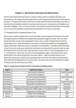 Job Analysis Study Technical Report