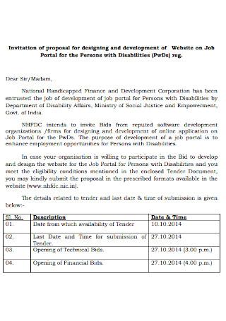 Job Bid Invitation Proposal