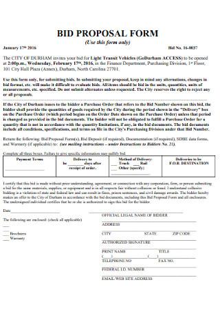 Job Bid Proposal Form