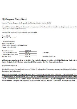 Job Bid and Proposal Cover Sheet