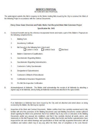 Job Bidders Proposal Template