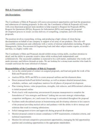 Job Coordinator Bid Proposal