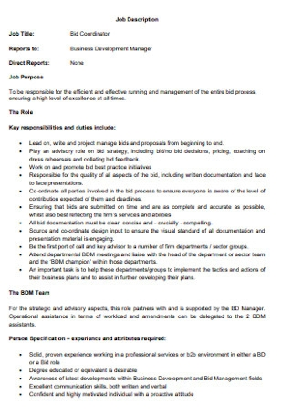 Job Description Bid Proposal
