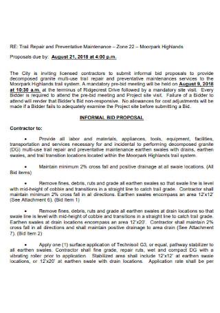 Job Informal Bid Proposal