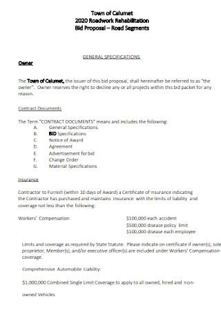 Job Roadwork Bid Proposal