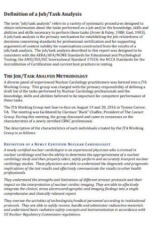 Job and Task Analysis Report
