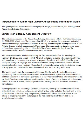 Junior High Litarary Assessment
