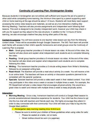 Kindergarten Learning Continuity Plan