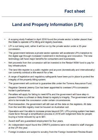 Land and Property Fact Sheet