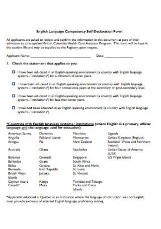 Language Competency Self Declaration Form