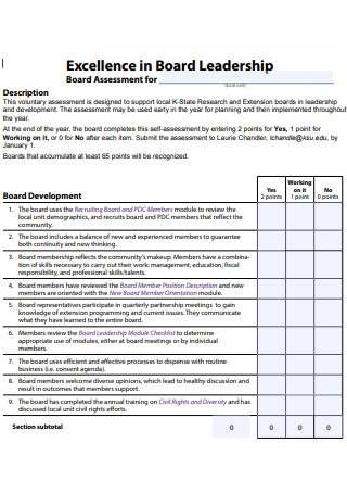 Leadership Board Assessment