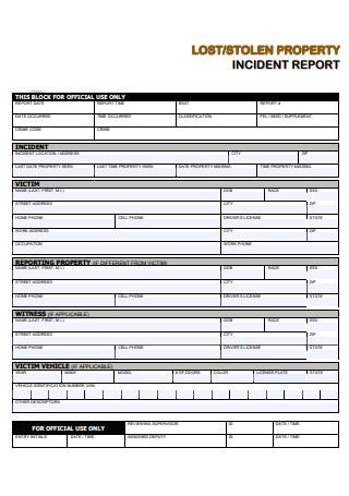 Lost Stolen Property Incident Report