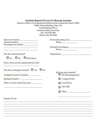 Lost or Missing Animals Incident Report