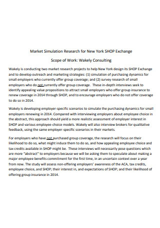 Market Simulation Research Scope of Work