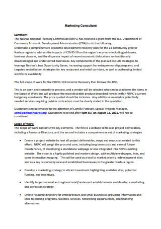 Marketing Consultant Scope of Work in PDF